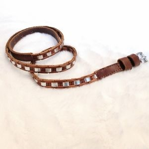 NWT Anthro Linea Pelle Brown Leather Skinny Belt